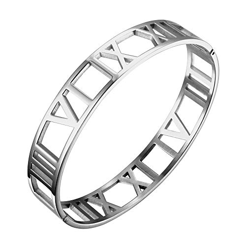 - Designer Inspired Titanium Steel Hollow Roman Numerals Wide Cuff Bracelet Unisex (Silver)