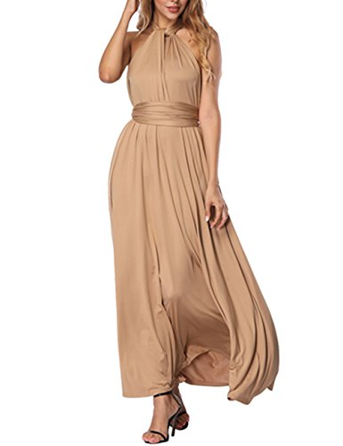 SELUXU Vestido de Las Mujeres de Alta Cintura Convertible Multi-Forma Abrigo Dama de Honor Formal Largo Vestidos Maxi Transformador/Infinito Vestido Color Caqui