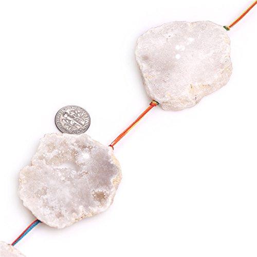 Precious Stone Semi Agate (60x48mm Natural Flat Slice White Agate Semi Precious Gemstone Beads for Jewelry Making 5 Pcs)
