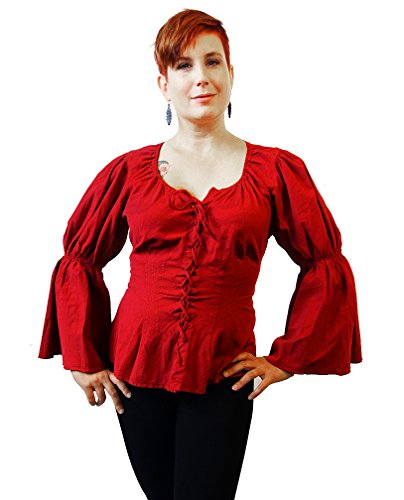 Dress Like A Pirate Brand Theatrical Wardrobe Re Enactor Cotton Renaissance Cosplay Blouse  Xsmall  Burgundy