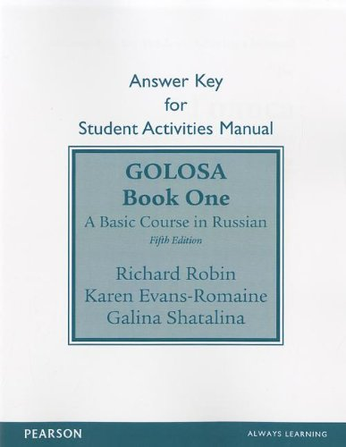 (SAM Answer Key for Golosa: A Basic Course in Russian, Book One)