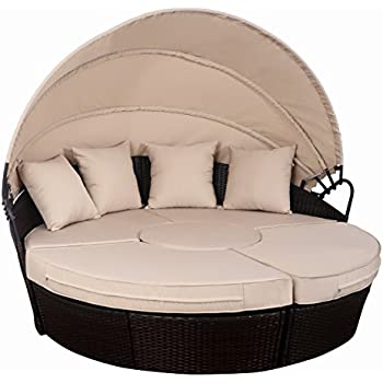 Wonderful TANGKULA Patio Furniture Outdoor Lawn Backyard Poolside Garden Round With  Retractable Canopy Wicker Rattan Round Daybed, Seating Separates Cushioned  Seats ...