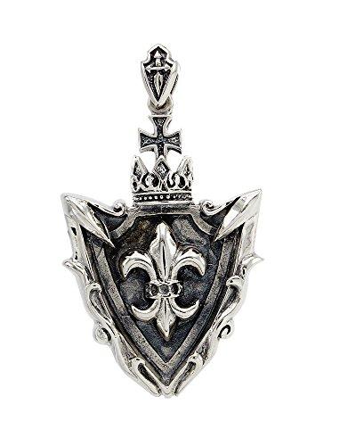 AFFY Crown Fleur De Lis Cross Shield Biker Rock Punk Pendant Necklace Women Men's Unisex Solid Sterling Silver Fathers Day Jewelry Gifts