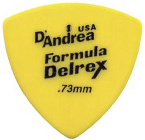 D'Andrea TD346 .73MD 346 Formula .73mm Medium Delrex Guitar Picks, 12-Piece, (Celluloid Rounded Triangle)