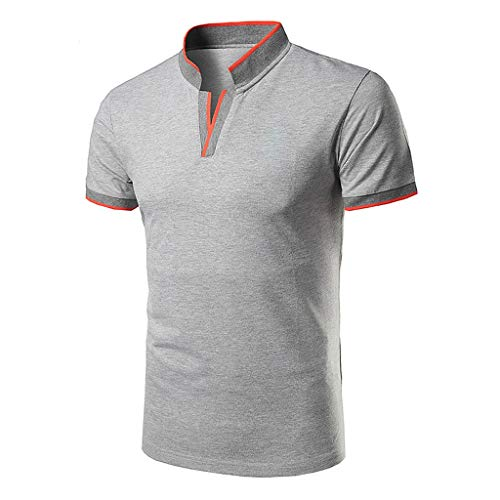 2019 New Polo Shirt for Mens Casual Fashion Standing Collar Youth Short-Sleeved Cotton Blouse Top T Shirt Gray