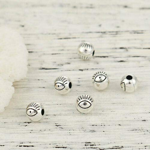 Metal Spacer Round Cast Beads - 100 Tibetan Antiqued Silver 6mm Round Ball Evil Eye ICU Metal Spacer Beads