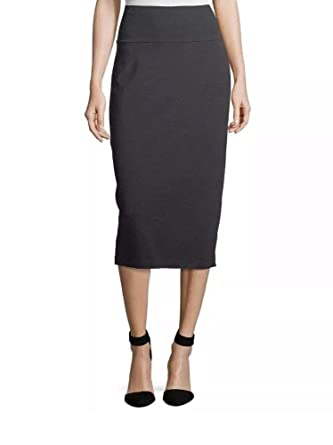 2b3635b7b Eileen Fisher Petite Women's Cozy Tencel Jersey Stretch Fold-Over Pencil  Skirt in Charcoal (