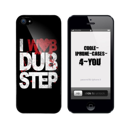 Iphone 5 / 5S Schutzhülle I love Dubstep - I wob Dubstep - schwarzer Rahmen