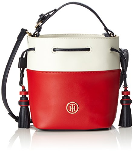 Tommy Hilfiger Summer Of Love Mini Bucket Colourblock - Borse a tracolla Donna, Weiß (Rwb Colourblock), 10x22x18 cm (L x H D)