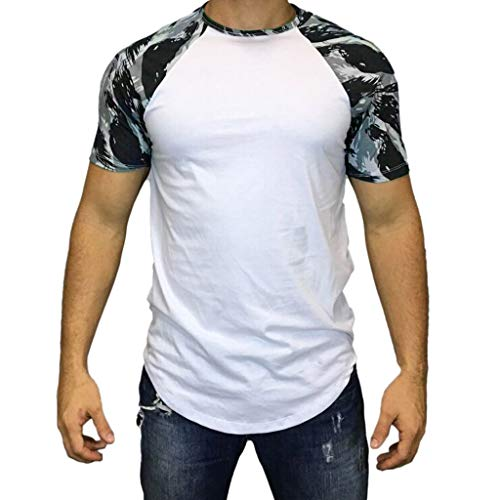 SFE Fashion Shirts,Men Casual Summer Camouflage Print Short Sleeve O-Neck Tops Blouse T-Shirt]()