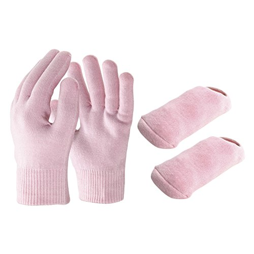 """Cheap GlovesocksGEL   Ultra Soft Cotton Moisturizing Gloves Socks Set with Essential Oils for Skin Care Treatment   Washable Unisex Spa Gel Gloves 7.9""""x3.9"""" and Socks 7.5""""x3.9""""   Pink   179.2"""
