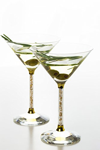 Martini Glasses- Crystal Stemmed Glassware Set (Gold) -