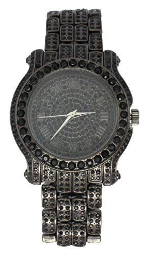 Mens Luxury Black Finish Iced Out Simulated Diamond Techno Pave Watch