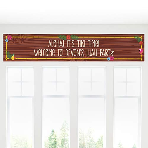 Hawaiian Party Personalized Banner - Big Dot of Happiness Personalized Tiki Luau - Custom Tropical Hawaiian Summer Party Decorations Party Banner