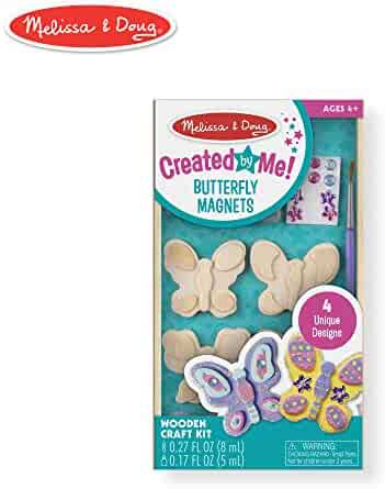 """Melissa & Doug Created by Me! Butterfly Magnets, Arts & Crafts, Easy to Assemble, Supplies for 4 Projects, 8.75"""" H x 5"""" W x 1"""" L"""