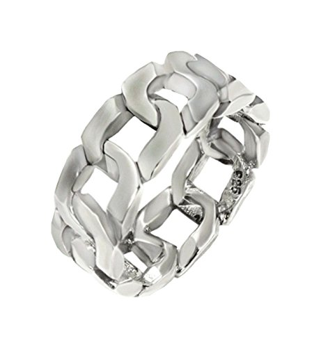Curb Link Style Band 8 mm wide Oxidized Solid .925 Silver ring designer (Band Link Designer Curb)