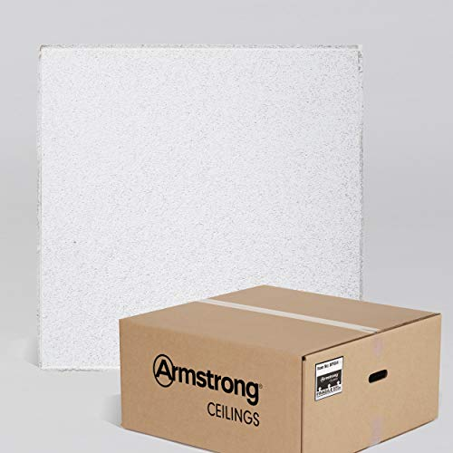 (Armstrong Ceiling Tiles; 2x2 Ceiling Tiles - HUMIGUARD Plus Acoustic Ceilings for Suspended Ceiling Grid; Drop Ceiling Tiles Direct from the Manufacturer; CIRRUS Item 584 - 12 pcs White Tegular)