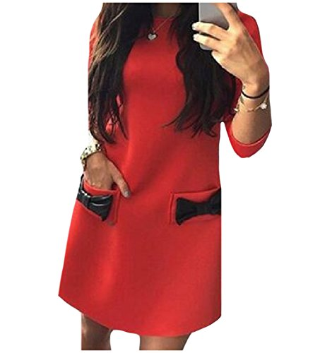 Crewneck Knot Sleeve Long Women Dress Harness Bow Red Spaghetti Coolred 6YqZASn