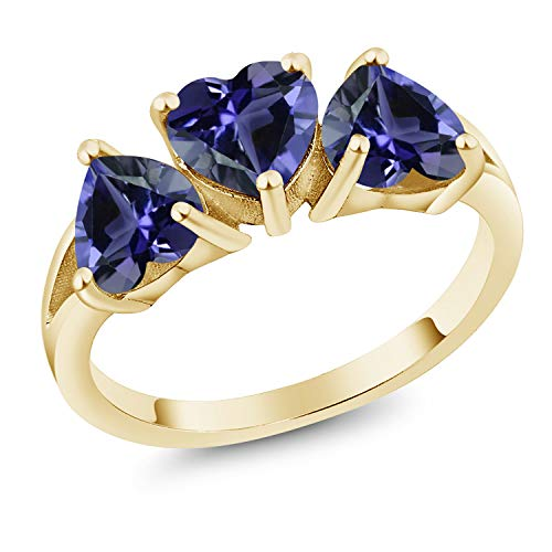 Gem Stone King 18K Yellow Gold Plated Silver 1.74 Ct Heart Shape Blue Iolite 3-Stone Ring (Size 7)