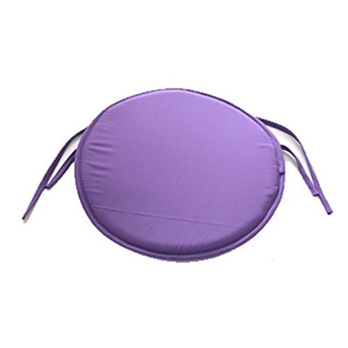 Garden Chair Pad (YOTHG Dinning Chair Cushion,Round Seat Pads, Non Slip Reversible Chair Pad Seat Pads for Garden Patio Home Office Kitchen Removable Cover 38cm X 38cm(3838cm,Purple))