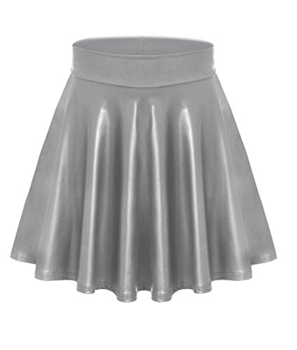Womens Faux Leather Skater Skirt Short a Line Mini Skirt - Made in USA Silver Leather Large (Lines Silver Many)
