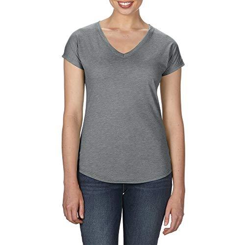 - Anvil Womens/Ladies Tri-Blend V-Neck Tee (XL) (Heather Graphite)