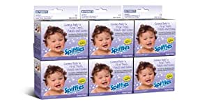 Spiffies Tooth Wipes, Baby Grape, 24 wipes, 3 Boxes Per Pack (Pack of 2) (144 wipes)