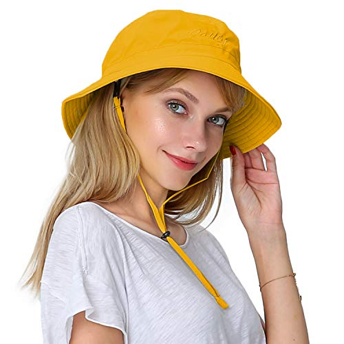 Puli Women's Packable Fisherman Bucket Hat Outdoor Hat with Chin Strap - Sun Protective, Yellow