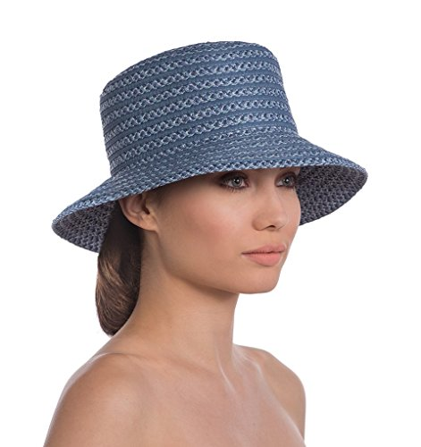 Eric Javits Luxury Fashion Designer Women's Headwear Hat - Braid Dame - Denim by Eric Javits