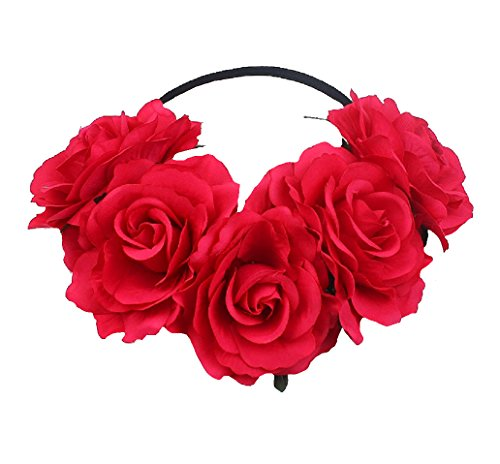 DreamLily Women's Hawaiian Stretch Flower Headband for Garland Party BC12 (Big Red)]()