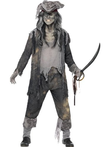 [Smiffy's Men's Ghost Ship Ghoul Costume, Coat, pants and Hat, Ghost Ship, Halloween, Size M, 21331] (Ghost Pirate Costume)