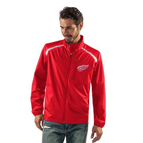 NHL Detroit Red Wings Men's Storm Full Zip Packable Jacket, Large, - Jacket Licensed Full Zip