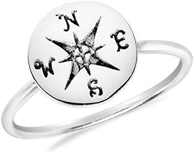 AeraVida Wanderer rsquo; s Compass Anillo de plata esterlina 925