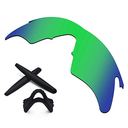 Replacement Lenses & Earsocks Rubber Kits for Oakley M Frame Heater Sunglasses (Sapphire Green-Polarized)