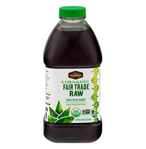 - Madhava Naturally Sweet Organic Blue Agave Low-Glycemic Sweetener, Fair Trade Raw, 46 Ounce (Pack of 2) - PACKAGING MAY VARY