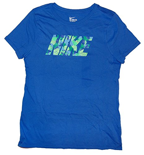 NIKE Girl's Graphic T Shirt Large Cotton Blue