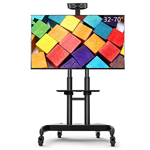 Mobile TV Cart, 32-70 Inch Floor Hanging Rack Event Display Shelf Video Conference Cart with Camera Tray and AV Shelf