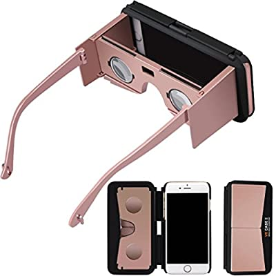 Bolayu 3D VR Phone Case Virtual Reality Google Glasses for iPhone 6S + Remote Control Gold