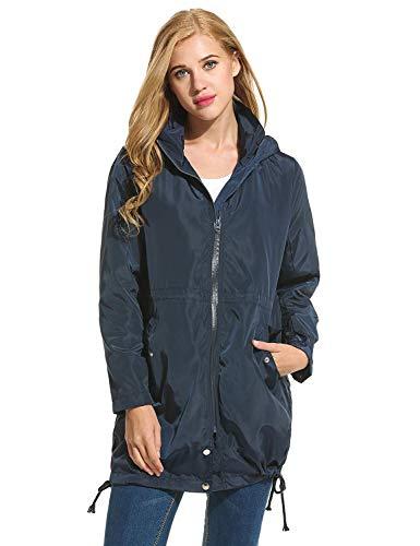 A Impermeabile Antipioggia Con Di Marca Lunga Mode blau Bolawoo Giacca Piumino Vento Jacket Cappuccio Da Parka Casual Navy Donna Hooded Zip 7ngwn04TqZ