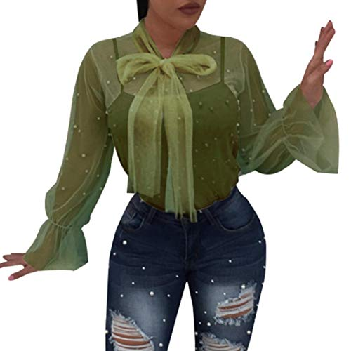 - Clearance!Youngh New 2018 Womens Blouses Shirts Ladies Lace Nail Bead Transparent Summer Blouses Turtleneck Sexy Tops Fashion Beach Casual Shirts