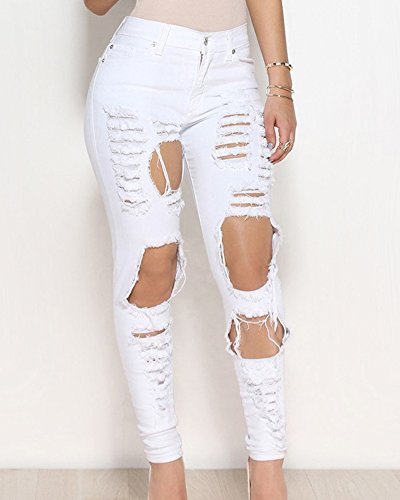 Femme Stretch Jean Skinny Dchirs Collant Haute Crayon Blanc Trous Pantalons Denim Taille wSwFB