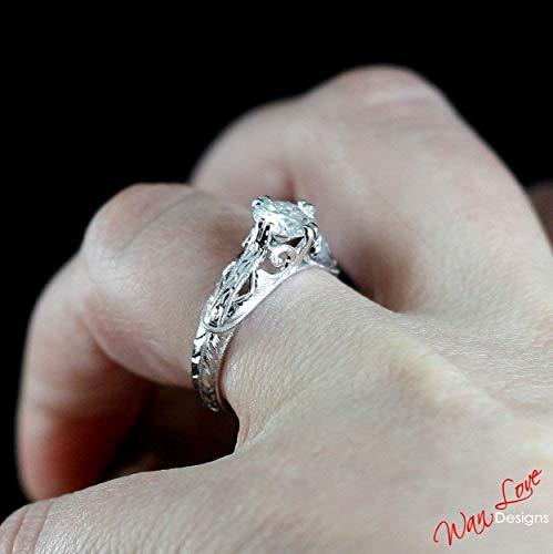 Forever One Moissanite Antique Engraving Engagement Ring