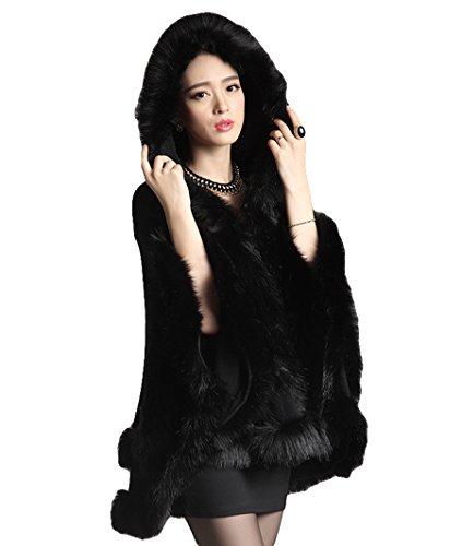 Trim Knit Jacket (Women's Faux Fox Fur Trim Hooded Knit Cape Cloak shawl (black))