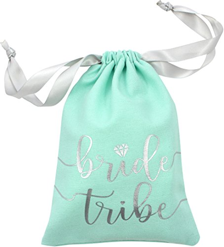 "10pc Bride Tribe Drawstring Bags w/ Satin Ribbon, 7x5"" - Cotton Pouch for Bridesmaids, Bachelorette, Bridal Party, Bridal Shower, Wedding Favor, Survival Kit, Hangover Kit (10pc Pack, Mint & Silver)"
