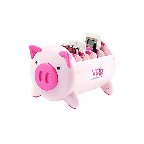 (Smiling Angel Creative Pigs Plastic Office Desktop Stationery Cell Phone Remote Control Storage Box Organizer)