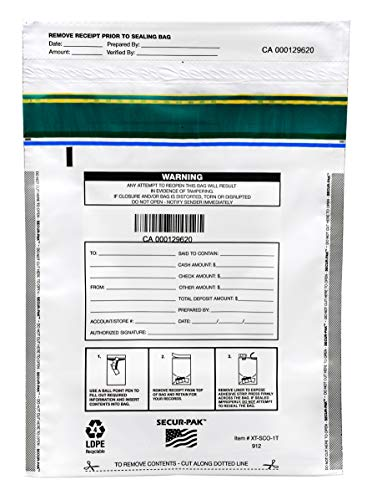 Evidence Security Bag - Secur-Pak Deposit Bags - Pack of 100 - Bill Capacity, 1,000 - Premium, Level 4 Security Tamper Evident, White Security Bags - Self Sealing, Opaque 2.5 Mil Plastic - 9