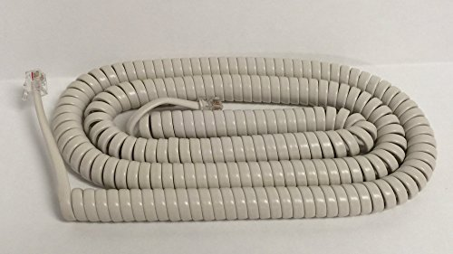 The VoIP Lounge 25 Foot Off White Long Phone Handset Curly Cord ()