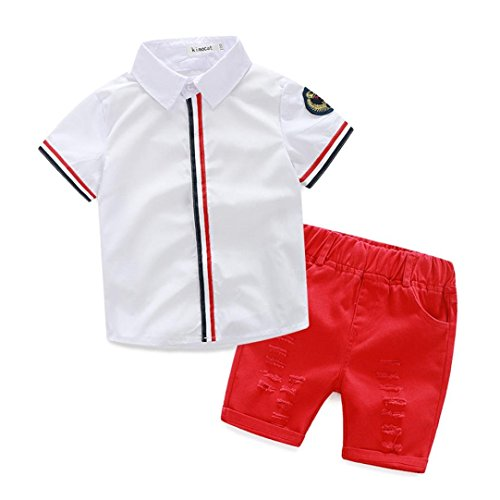 [1Set 2016 Summer Children clothing Baby Boys T-shirts+Shorts Pants Clothes (Age:2-3Y, White)] (Child Frog Costume Pattern)
