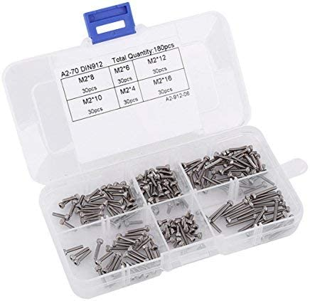 180pcs M2 4-16mm Stainless Steel Hexagon Head Screw Assortment Kit with Case