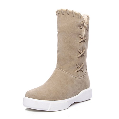 Boots Women's Fall Shoes Toe Round Booties for Boots Boots ZHZNVX Snow Mid Boots Boots Fleece Casual Flat Almond Winter Calf Fashion HSXZ Dress Ankle Green XHqwp